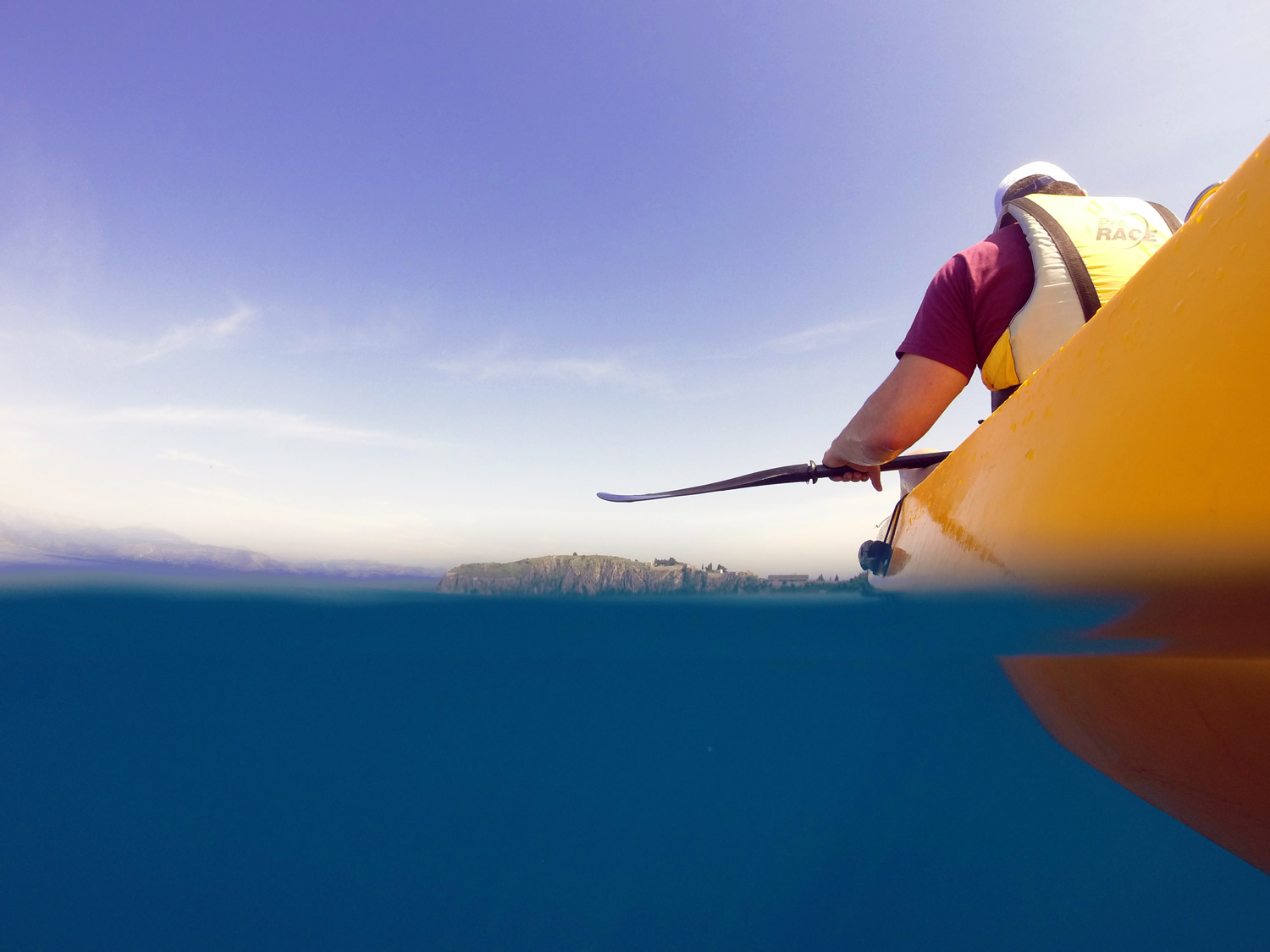 Crystal clear waters of Argolis up on a sea kayak